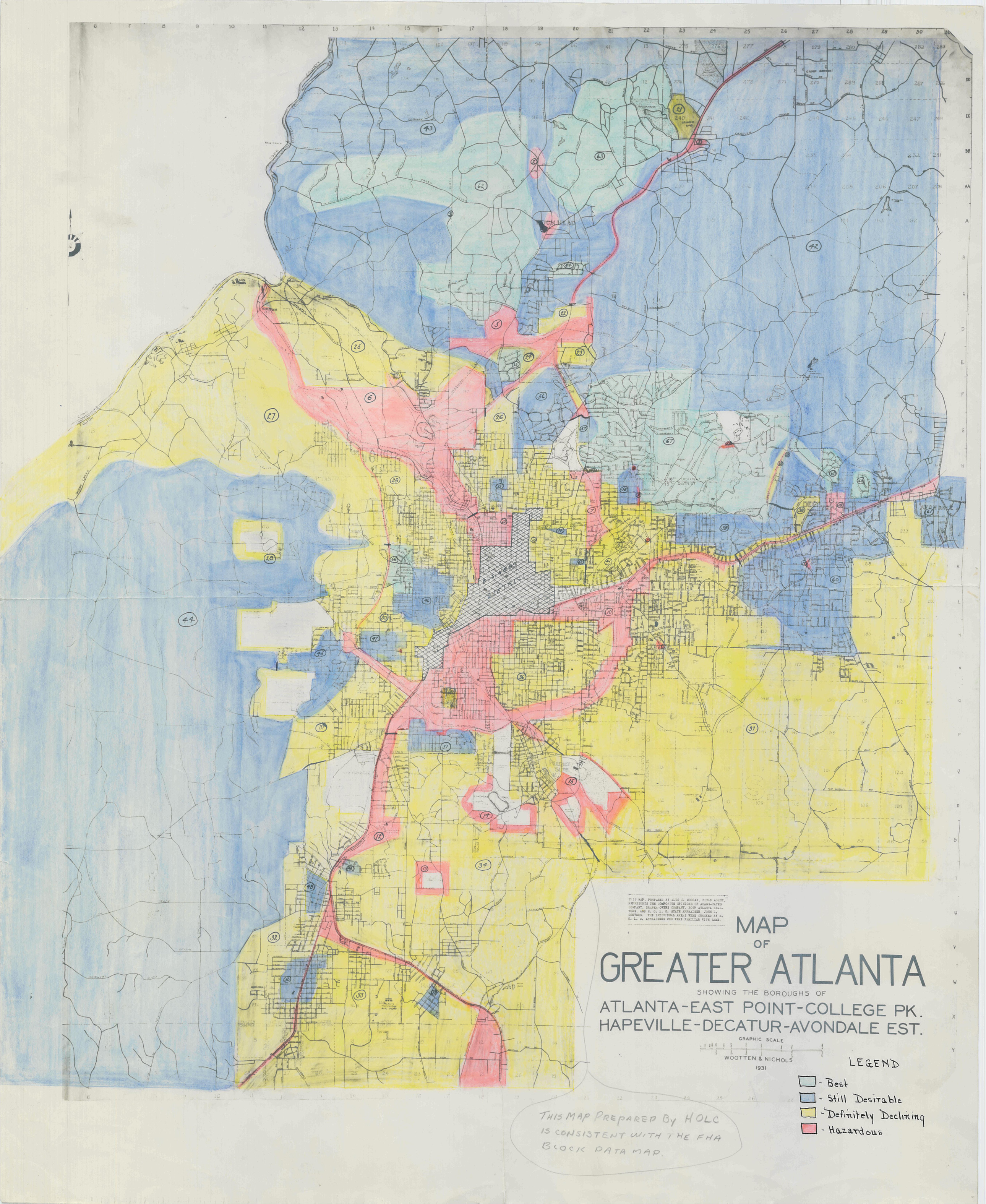 Redline Map For Greater Atlanta Georgia - Georgia map legend