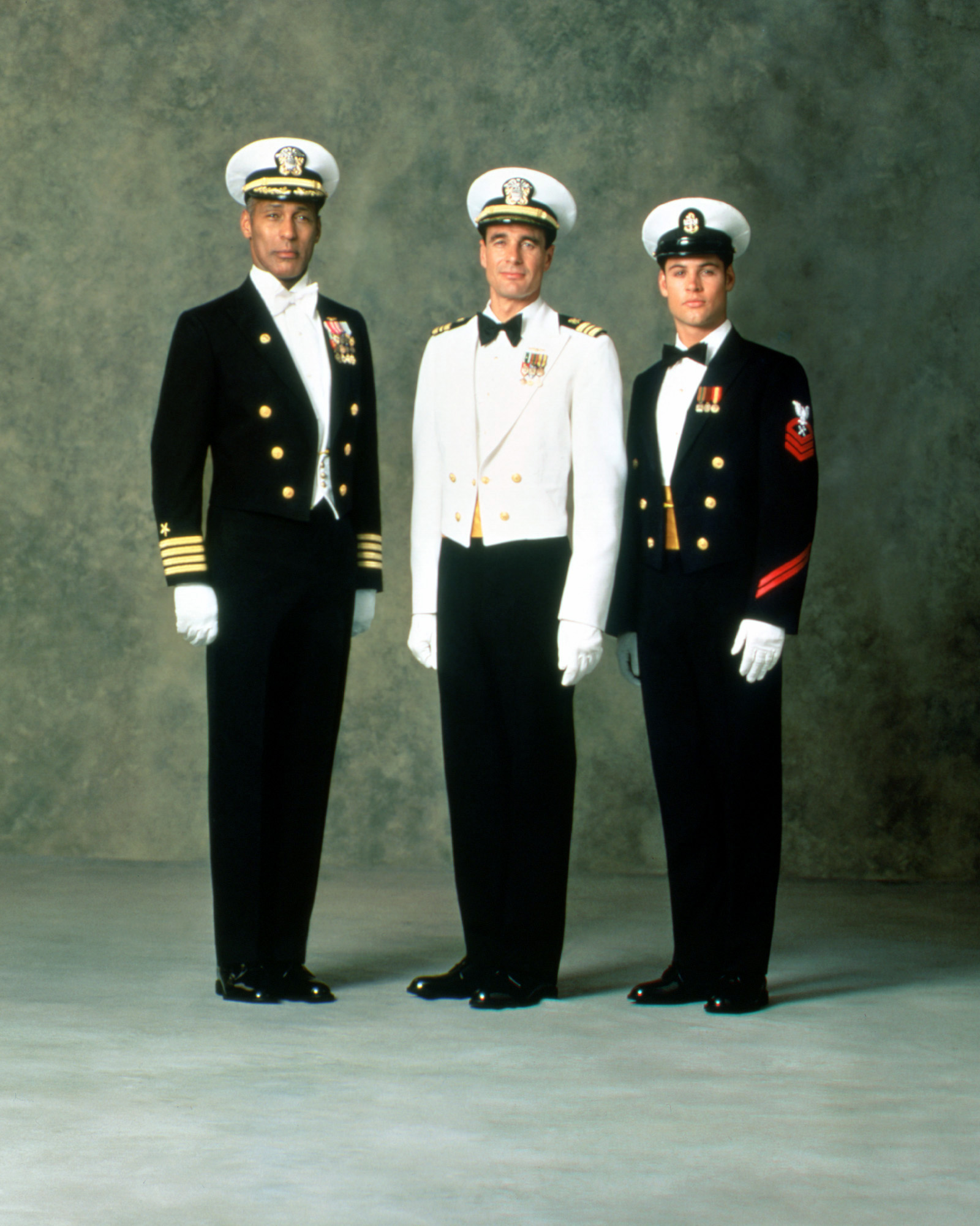 Left Mens Formal Dress Uniform With Blue Mess Jacket And White Tie