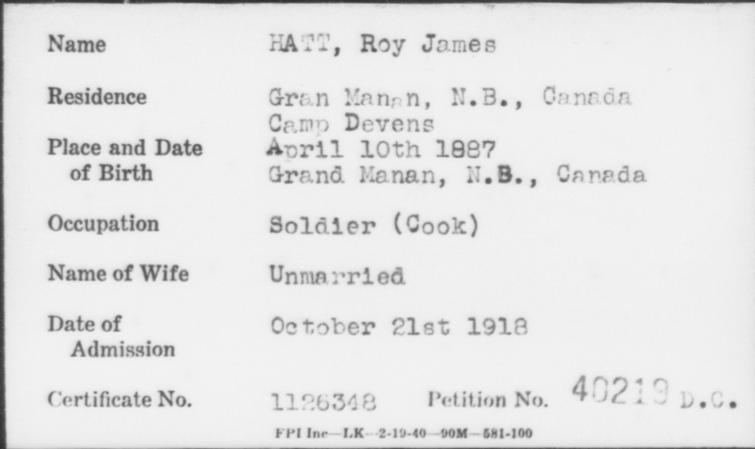 HATT, Roy James