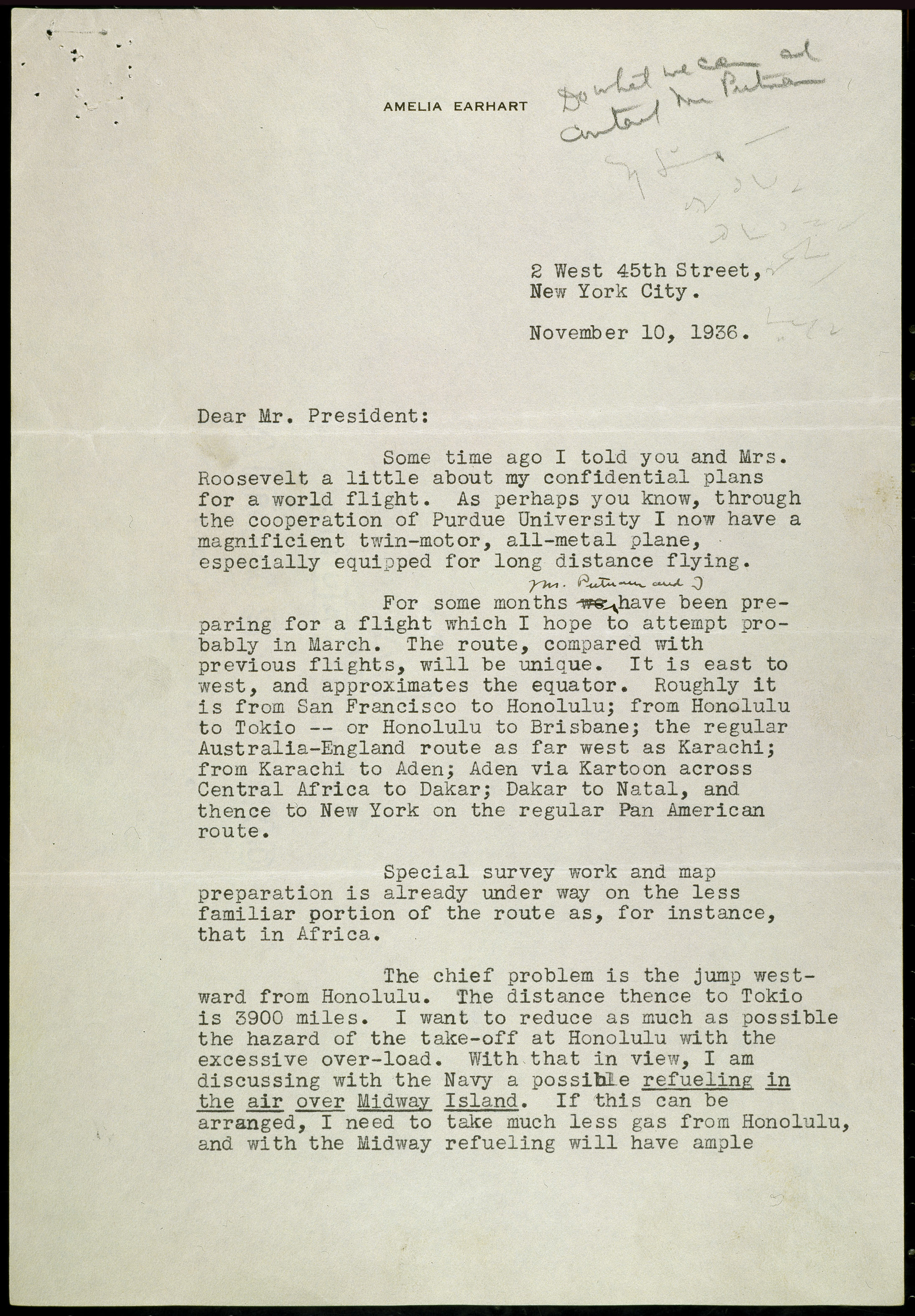 Letter from amelia earhart to president roosevelt regarding her viewadd thecheapjerseys Choice Image