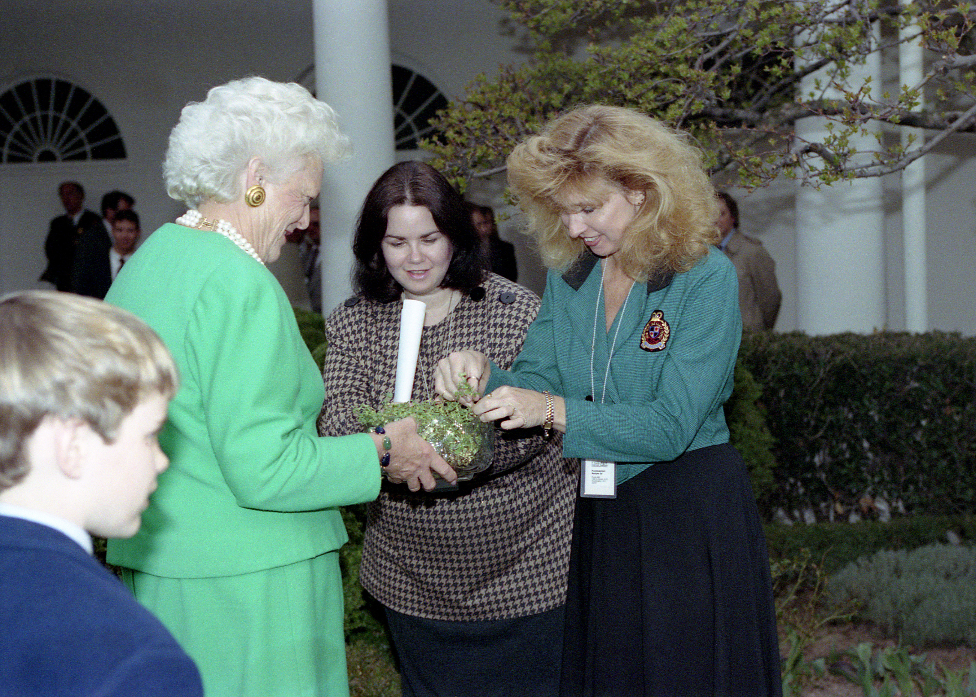 Mrs. Bush Participates in a the Presentation of Shamrocks in Honor of St. Patrick's Day